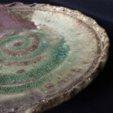 灰釉渦紋丸皿