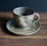 粉引灰釉コーヒー碗皿