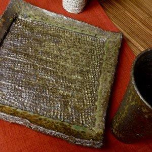 画像1: 粉引灰釉櫛目角皿