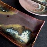 鉄釉長角皿